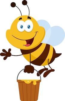 Bienenkarikatur, die mit eimer fliegt. flaches design isoliert
