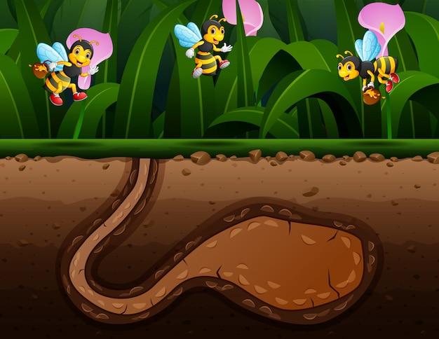 Bienenkarikatur im parkhintergrund