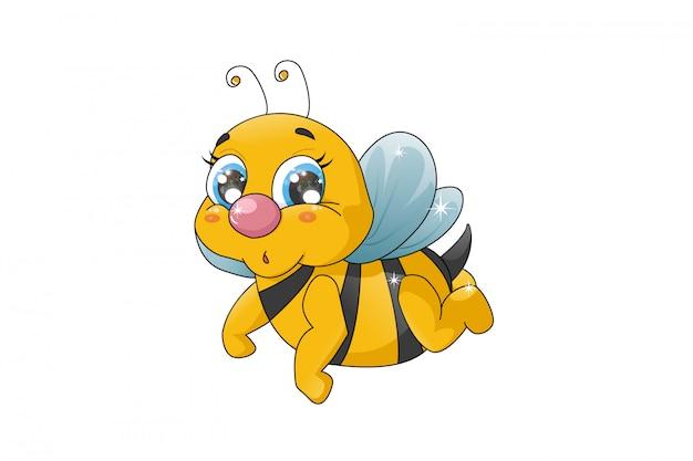 Bienenkarikatur lustig lokalisiert auf weißem hintergrund