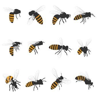 Bienenkarikatursatz lokalisiert auf einem weißen hintergrund.