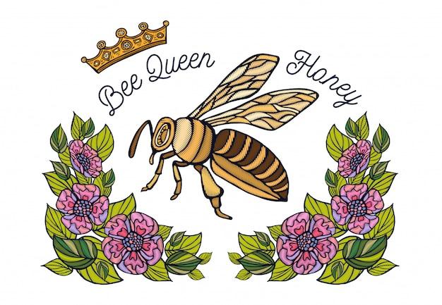 Bienenkronenblumenstickerei. honigbiene hummel blumenblatt insektenstickerei. handgemalt
