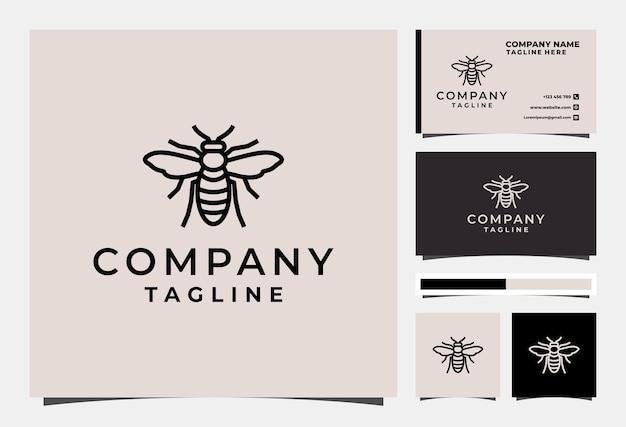 Bienenlinie logo design tier premium vektor