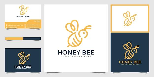 Bienenlogo-design mit stilvollen linien und visitenkarten