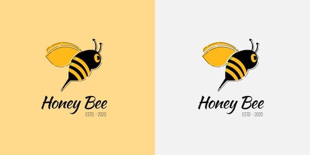 Bienenlogo für honigbienen- und lebensmittelgeschäft