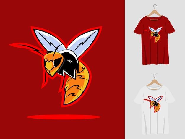 Bienenlogo-maskottchenentwurf mit t-shirt. bienenkopfillustration für sportmannschaft und bedruckendes t-shirt
