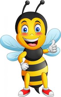Bienenmaskottchen mit zwei verschiedenen seiten