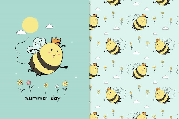 Bienenmuster Premium Vektoren