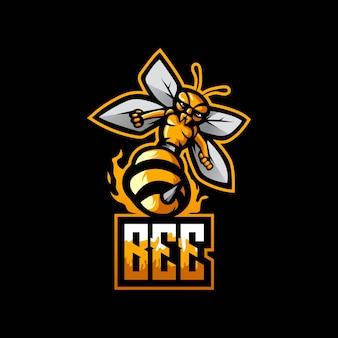 Bienensport-maskottchen-logo mit modernem illustrationskonzept