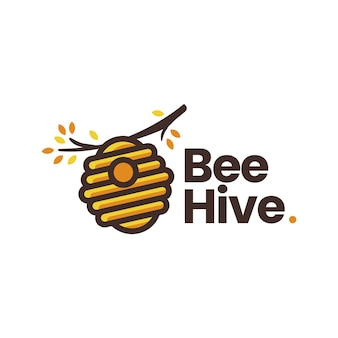 Bienenstock-baumzweig-logo-vorlage