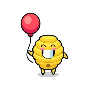 Bienenstock-maskottchen-illustration spielt ballon, süßes design