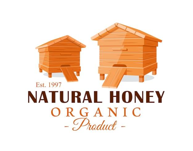 Bienenstöcke auf weißem hintergrund. honigetikett, logo, emblemkonzept. illustration