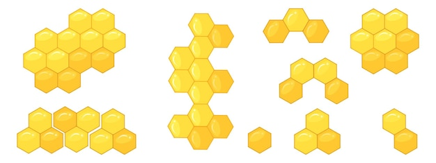 Bienenwabe, eine reihe von mustern aus sechsecken. vektor-illustration von honigfiguren.