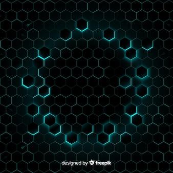 Bienenwabe mit hellblauem licht, das rahmen bildet