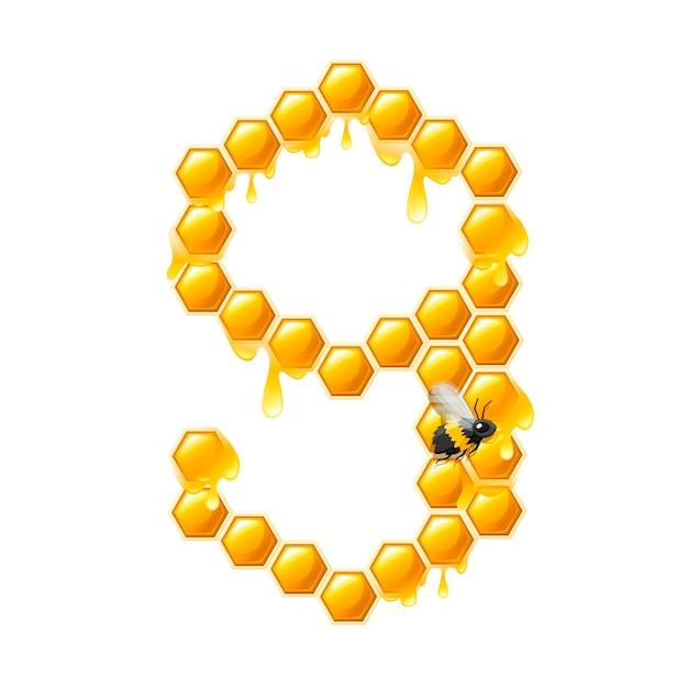 Bienenwabe nummer 9 mit honigtropfen und bienenkarikaturstillebensmitteldesign flache vektorillustration lokalisiert auf weißem hintergrund.