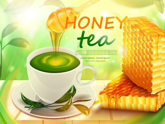 Bienenwaben- und teeschale mit honig auf bretterbodenproduktplakat