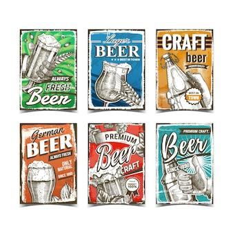 Bier alkoholisches getränk werbung plakate set