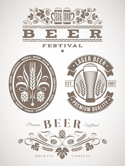 Bier embleme und etiketten - illustration