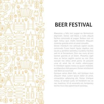 Bier fest linienmuster konzept. vektor-illustration des umrissdesigns.