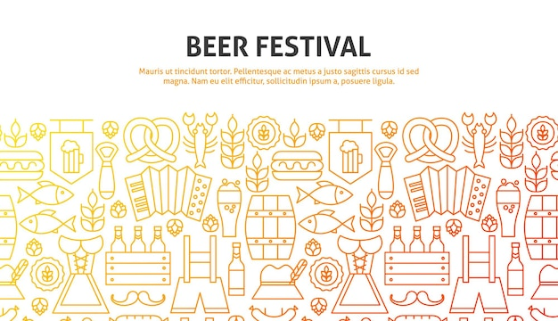 Bier-festival-konzept. vektor-illustration der linie website-design. banner-vorlage.
