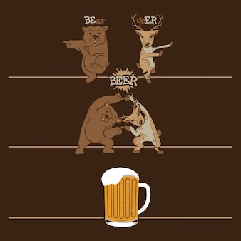 Bier, fusionsbär und hirsch