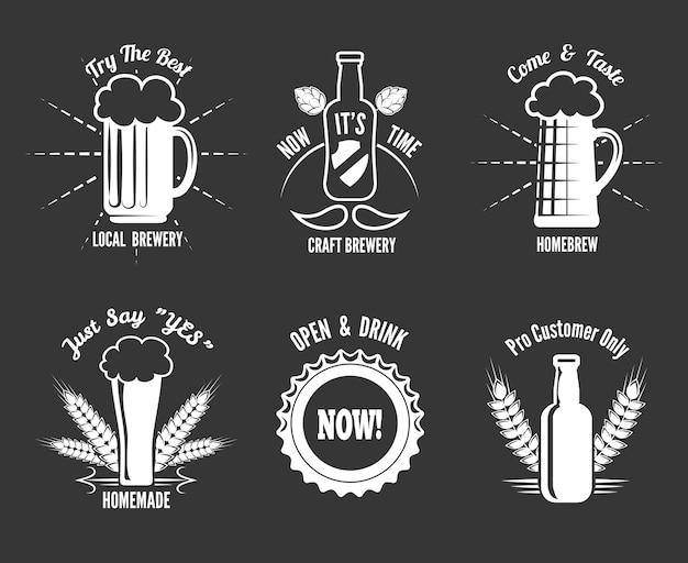 Bier handwerk etiketten gesetzt