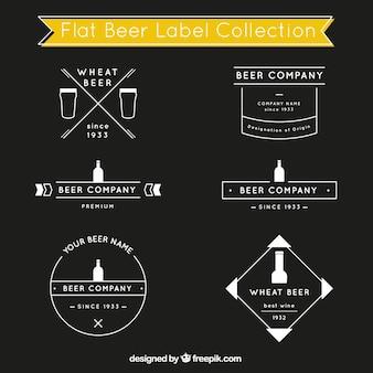 Bier-label-kollektion in flachen stil