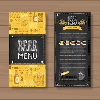 Bier-menü-bühnenbild für das restaurant-café pub chalked