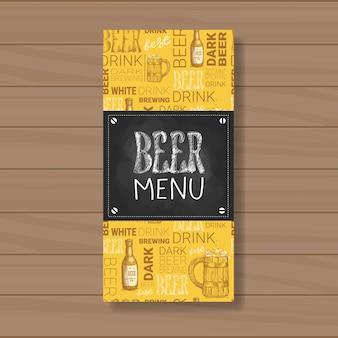 Bier-menü-design für restaurant cafe pub chalked