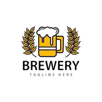 Bier mit weizenlogoillustrationsschablonendesignvektor in lokalisiertem hintergrund für brauerei, café, restaurant, kneipe, bar