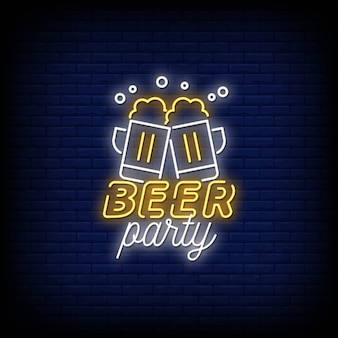 Bier party neon zeichen stil text