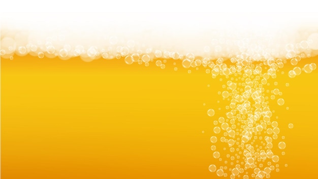 Bier schaum. craft-lager-spritzer. oktoberfest-hintergrund. restaurant-banner-vorlage. hipster pint ale mit realistischen weißen blasen. kühles flüssiges getränk für goldkrug mit bierschaum.