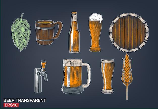 Bier-set mit wasserhahn, glas, flasche