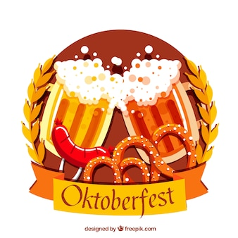 Bier-toast, wurst und brezeln mit flachem design