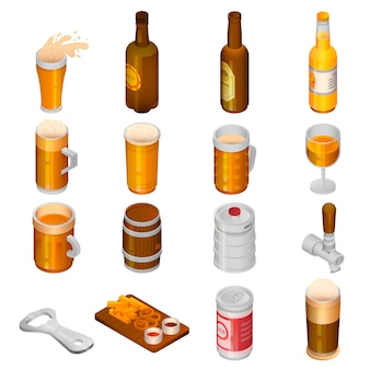 Bier trinken icon set. isometrischer satz biergetränkvektorikonen für das webdesign lokalisiert auf weißem hintergrund