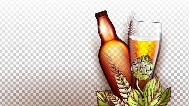 Bier trinken produkt glas und leere flasche vektor. weizen- und malzpflanze natürlicher bestandteil zum brauen von bier, verpackung und glaswaren. 3d-illustration der alkoholischen schaumigen getränkeproduktionsvorlage
