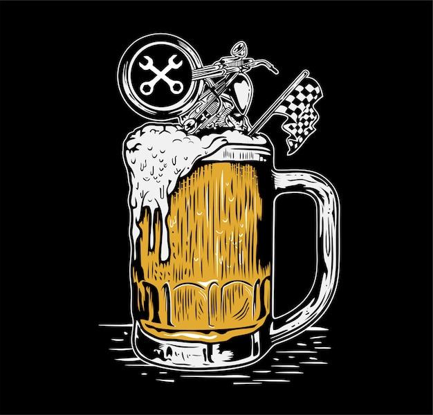 Bier und motorrad