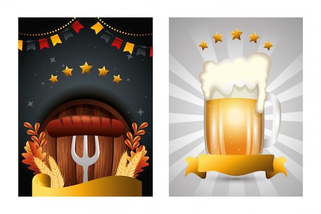 Bier-vektordesign deutschlands oktoberfest