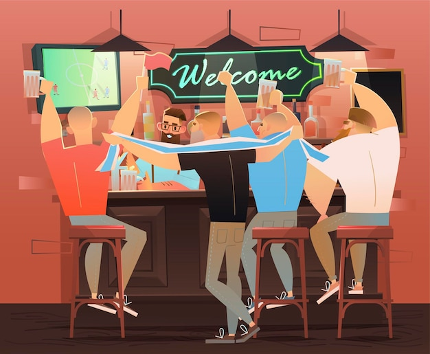 Bierbar - restaurant. fußballfans feiern den sieg. fußballspiel, bar mit barkeeper, alkoholischen getränken und freunden.