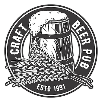 Bierbrauemblem, in dem ährchen und bierkrug
