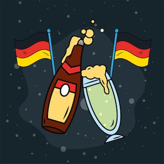 Biere und deutschland-flaggen-oktoberfest-symbole