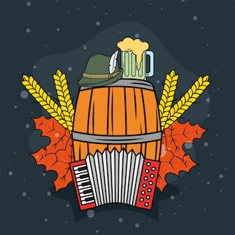 Bierfass- und oktoberfest-symbole