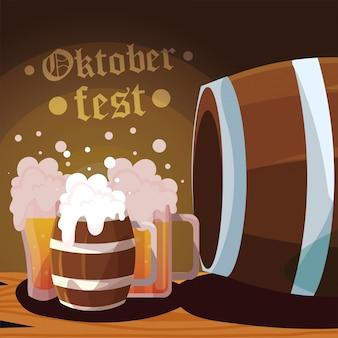 Bierfest oktoberfest mit becher und schaum