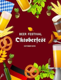 Bierfest oktoberfest-plakat mit fest-symbolen