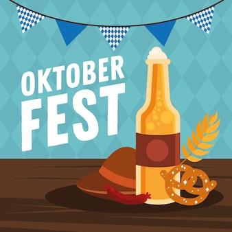 Bierflasche brezelwurst und hut mit fahnenwimpelentwurf, oktoberfestdeutschfest und feierthema