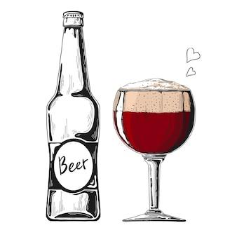 Bierflasche. glas mit bier. illustration eines skizzenstils.