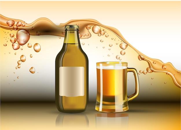 Bierflasche und glas