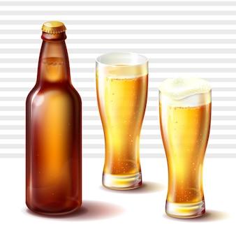 Bierflasche und weizen gläser mit bier vektor