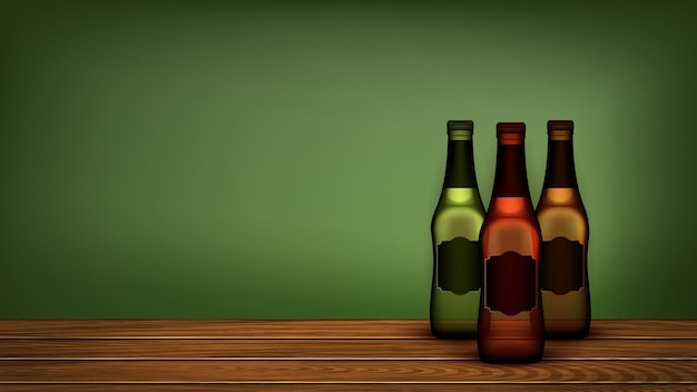 Bierflaschen auf holzregal copyspace vector