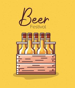 Bierflaschen in der schachtel des festivals