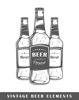 Bierflaschen lokalisiert auf weißem hintergrund